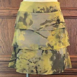 The Limited Gray and Yellow Tiered Ruffle Skirt